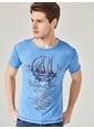 MCL Baskılı Bisiklet Yaka Tişört Mavi